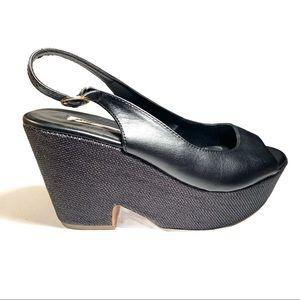 Mango Australia Leather Slip Open Toe Wedges 38